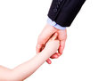 Child holding father s hand isolated white trust togethterness support concept Stock Photo