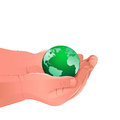 Child holding the green earth. Royalty Free Stock Photo