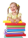 Child holding pile of books. Stock Photos