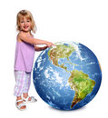 Child Holding and Pointing Earth Stock Photos