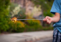 Child holding a sparkler Royalty Free Stock Photo