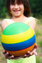 The child holds a ball Royalty Free Stock Images