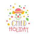 Child holiday promo sign. Childrens party colorful hand drawn vector Illustration