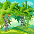 Child illustration jungle with coconut trees