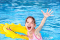Child with inflatable ring are drowning. Stock Photography