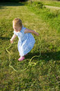 Child jump rope. Royalty Free Stock Photo