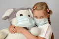 Child kid girl epidemic flu medicine child medical mask. Royalty Free Stock Photo