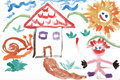 Child kids watercolor drawing of house Royalty Free Stock Photo