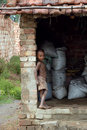 Child labour at the Indian Brick field Royalty Free Stock Photo