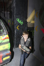 Child at a laser tag arena inside the stalingrad in bucharest romania Stock Images