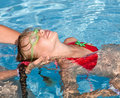 Child learn swim in swimming pool. Stock Images