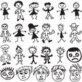 Child-Like Drawings of Cartoon Stick People Royalty Free Stock Photography