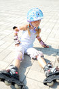 Child on in-line rollerblade skate Stock Photography