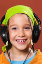 Child listening music Royalty Free Stock Photo