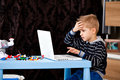 Child look laptop Royalty Free Stock Photo
