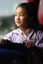Child look outside on bus Stock Photography