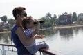 Child looking through binoculars Royalty Free Stock Photo