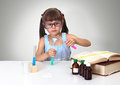 Child making chemical test Stock Photography