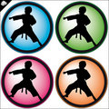 Child in Martial art colored simbol set. Vector. Royalty Free Stock Images