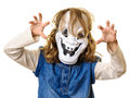 Child with mask claws hands zombie scary expression like isolated on white Stock Photos