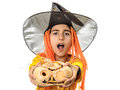 Child masked in wizard oferring pumpkin boy offering wrinkled on halloween isolated on white background Stock Image