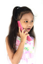 Child mobile phone girl use on white background Stock Image