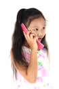 Child mobile phone girl use on white background Royalty Free Stock Photography