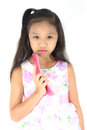 Child mobile phone girl use on white background Stock Photography