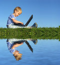 Child with notebook Royalty Free Stock Image