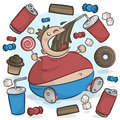 Child Obesity Graphic. Fat Kid Eating Sugary Treats.
