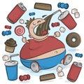 Child Obesity Graphic. Fat Kid Eating Sugary Treats. Royalty Free Stock Photo
