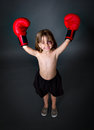 Child olimpic boxing winner Stock Photo