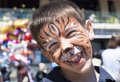 Child with painted face tiger paint boy on children s holiday Stock Images