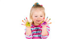 Child painting with fingers isolated on white Stock Images