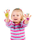 Child painting with fingers isolated on white Royalty Free Stock Image