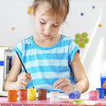 Child painting in the kindergarten Stock Photos