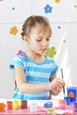 Child painting in the kindergarten Royalty Free Stock Images