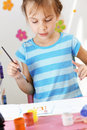 Child painting in the kindergarten Royalty Free Stock Photo