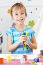 Child painting in the kindergarten Stock Photography