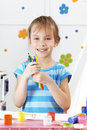 Child painting in the kindergarten Royalty Free Stock Photography