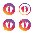 Child pair of footprint sign icon. Barefoot .