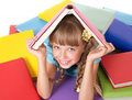 Child with pile of books on head. Royalty Free Stock Photo