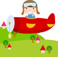 Child in plane illustration of a Stock Image