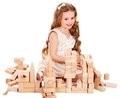 Child play building blocks. Royalty Free Stock Images