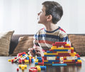 Child play with children's constructor toys
