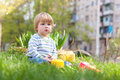 Child play on green grass Royalty Free Stock Photography