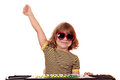 Child play music on keyboard happy Royalty Free Stock Photography