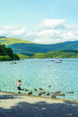 A child playing with ducks on summer at Loch Lomond, Luss, Scotland Royalty Free Stock Photo