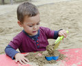 Child playing in sandpit toddler boy or girl with plastic toys Stock Photo
