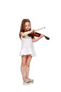 Child playing violin on isolated white background Royalty Free Stock Image